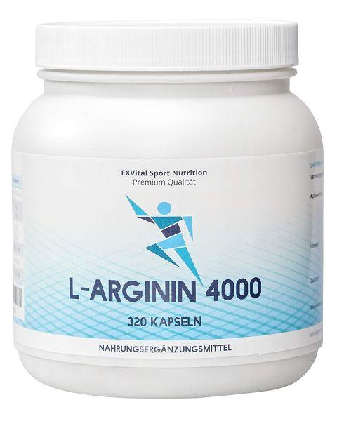 L-Arginin 4000 hochdosiert von EXVital Sport Nutrition, 320 Kapseln
