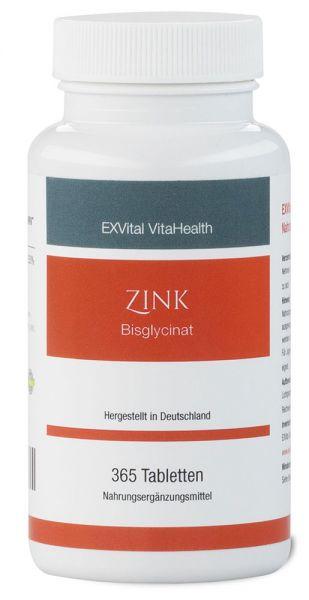 Zink Tabletten– 25 mg Zink-Bisglycinat von EXVital Vitahealth, 365 vegane Tabletten