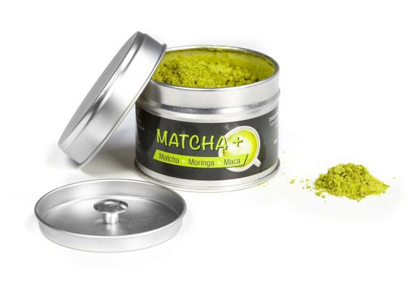 Matcha+: Tee Mix aus Matcha, Moringa und Maca von EXVital, 30g Dose