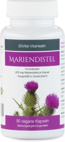 Mariendistel Extrakt - 80% Silymarin Anteil, hoch konzentriert von EXVital VitaHealth, 90 Kapseln